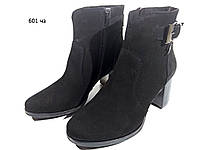 Ботинки женские демисезонные натуральная замша черные  со змейкой (601)
