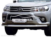 Защита переднего бампера Toyota Hilux 2015-... одинарный ус (п.к. V001)