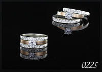 Кольцо серебряное тройное