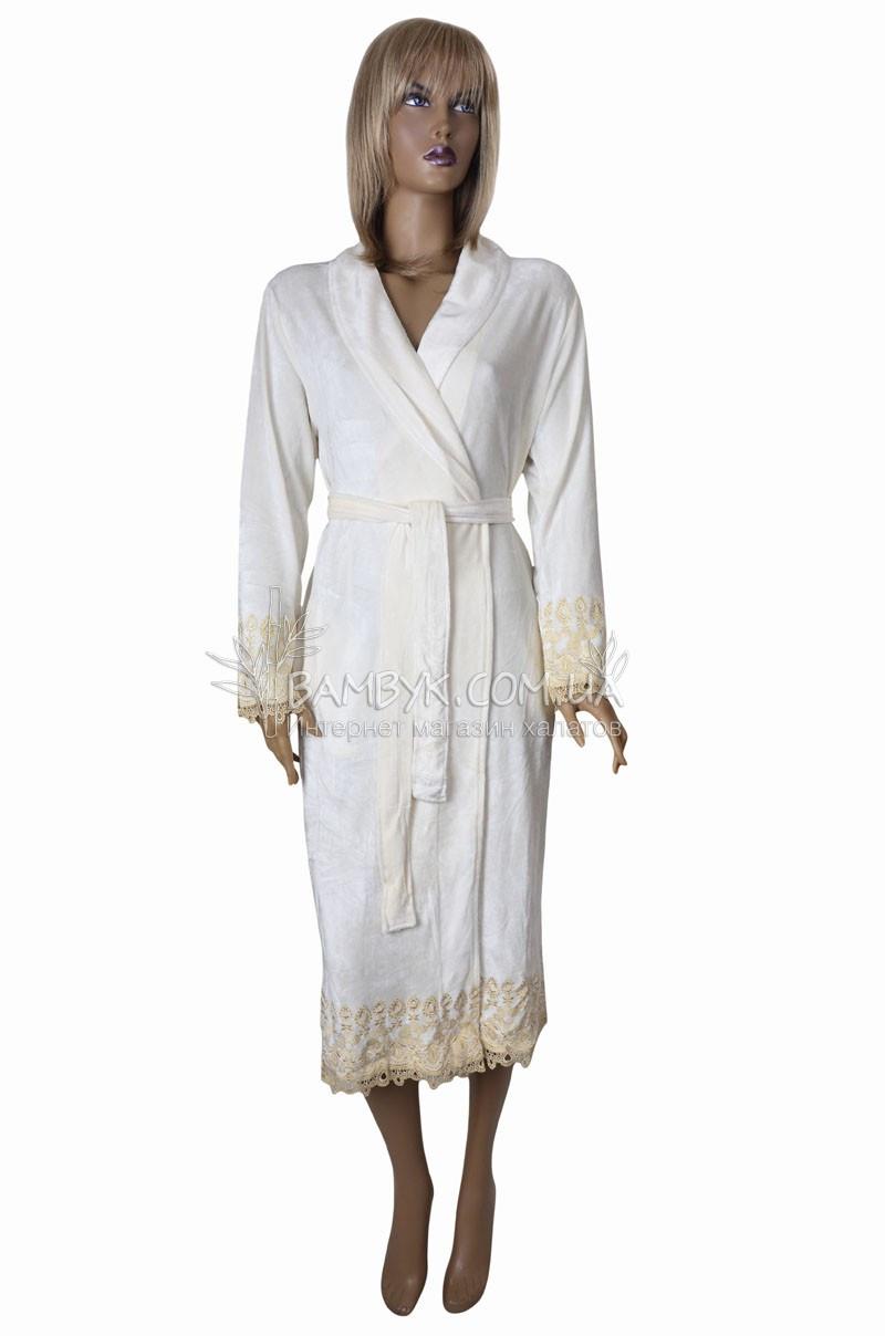 Халат женский велюровый с золотой вышивкой Nusa (крем) №0207