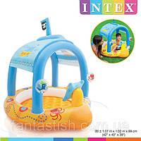 Детский надувной бассейн INTEX 57426 с навесом, капитанский, 107-102-99см, высота бортика 13см IKD /57-9