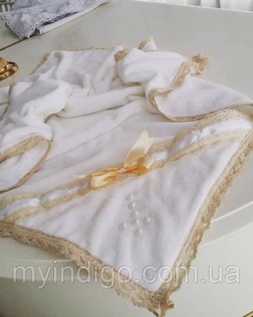 Нежные оттенки молочного. Крыжма для крещения махровая