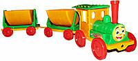 """Поезд-конструктор, с 2мя прицепами, MIX, в сетке 85*22*20см, пр. Украина, ТМ """"Долони"""""""