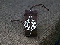 Кожаный коричневый браслет для мужчин КОЛОВРАТ, ручная работа