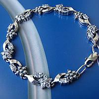Серебряный женский браслет с цветами, 175мм, 40 камней