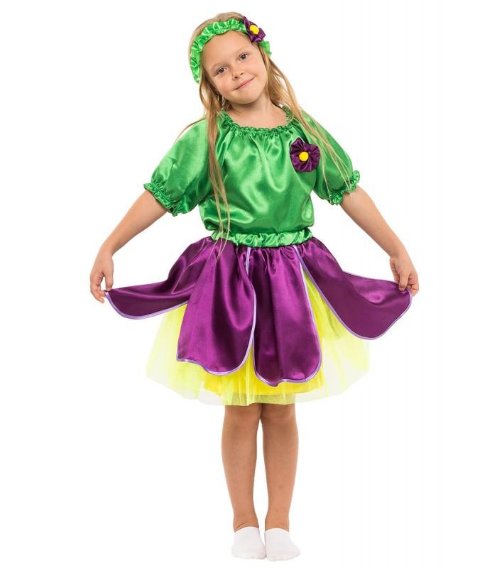 Карнавальный костюм Фиалки  для девочки весенний на праздник Весны (5-10 лет)