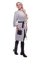 Длинный женский кардиган с кармашками и поясом серого цвета