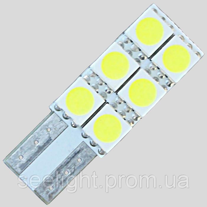 Светодиодная автомобильная лампа в подсветку салона и номерных знаков по цоколь T10(W5W)-5050-6-NP
