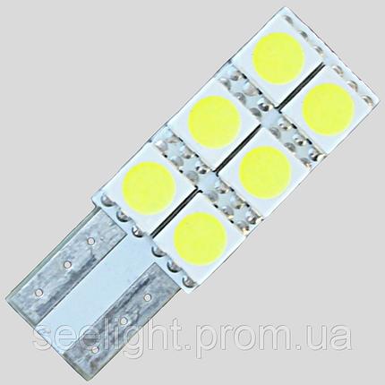 Светодиодная автомобильная лампа в подсветку салона и номерных знаков по цоколь T10(W5W)-5050-6-NP, фото 2