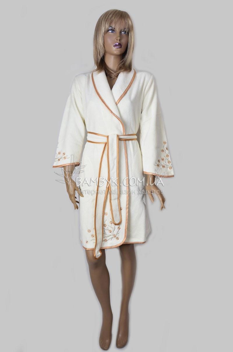 Бамбуковый женский халат с вышивкой Nusa (крем) №3725