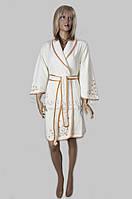 Бамбуковый женский халат с вышивкой Nusa (крем) №3725, фото 1