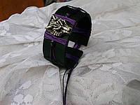 Кожаный браслет со стразами в подарок ВОЛК, ручная работа