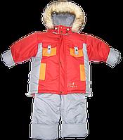 Зимний комбинезон (термокомбинезон):штаны на шлейках, куртка на флисе и отстегивающейся овчине, р. 98