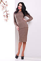 Вязаный коричневый комплект джемпер и юбка