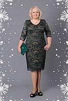Платье женское праздничное гипюр цвет бутылка р.52-60 V262-03 Большой выбор платьев!