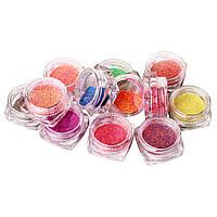 Набор меланжа для дизайна ногтей, 12 цветов в пластиковом контейнере