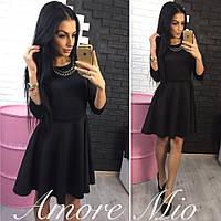 Платье женское Ткань-черное-дайвинг,баклажан и бутылка-трикотаж сстил№252