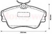 Гальмівні колодки передні без датчика (R15, суцільний диск,129.7x65.2x19mm) VW T4 90-200-015 BSG