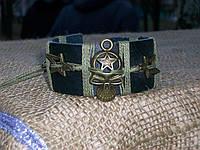 Кожаный браслет ЧЕРЕП со звездой и боковыми вставками ЗВЕЗДЫ, ручная работа