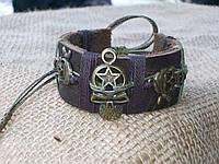 Кожаный браслет ЧЕРЕП и пираты, ручная работа