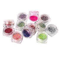 Набор ярких конфетти для дизайна ногтей, 12 шт в пластиковом контейнере