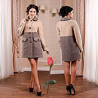 Пальто из итальянской буклированной ткани  F  771002  Кофе