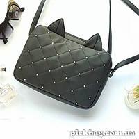 Женская сумка с ушками кошки черная Мур