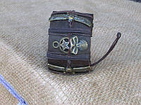 Кожаный браслет ЧЕРЕПа со звездой и с крыльями, ручная работа