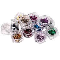 Набор цветных ромбиков для дизайна ногтей, 12 цветов в пластиковом контейнере