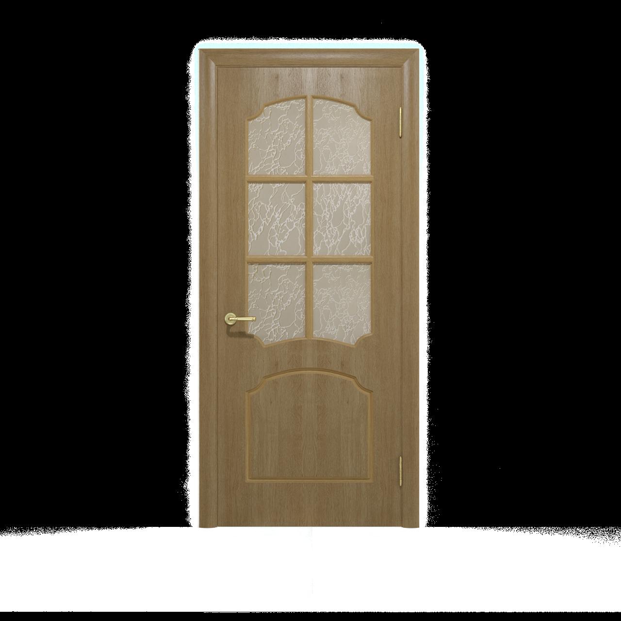 Міжкімнатні двері шпоновані дубом, модель Крона ПО світлий горіх. Шпон дубовий