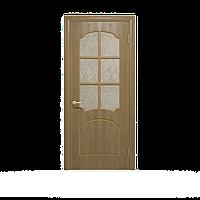Межкомнатные двери шпонированные дубом, модель Крона ПО светлый орех. Шпон дубовый