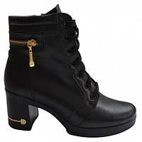 Ботинки кожаные на каблуке