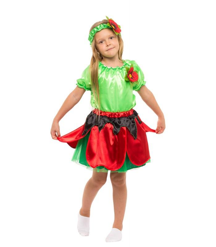 Карнавальный костюм Мака для девочки весенний на праздник Весны (5-10 лет)
