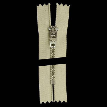 Молния YKK 14 см. тип 4,5 экрю+никель, фото 2