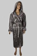 Теплый мужской халат из микрофибры Nusa (гранит) №2740