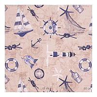 Ткань для штор в морском стиле нежно-кофейного оттенка Испания