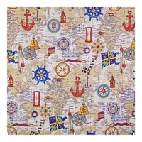 Ткань для штор в морском стиле с картой (75% хлоп, 25% п/э)