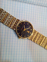 Мужские часы Rolex 3100G золотистые с черным циферблатом диаметр 37 мм