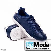 Модные мужские кроссовки d.blue классического фасона на белой подошве с синей шнуровкой синие