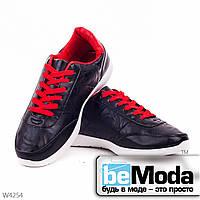 Модные мужские кроссовки red классического фасона на белой подошве с красной шнуровкой черные с красным
