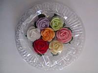 """Набор """" Розы с листочками"""" 7 шт. ассорти d25 (03014)"""