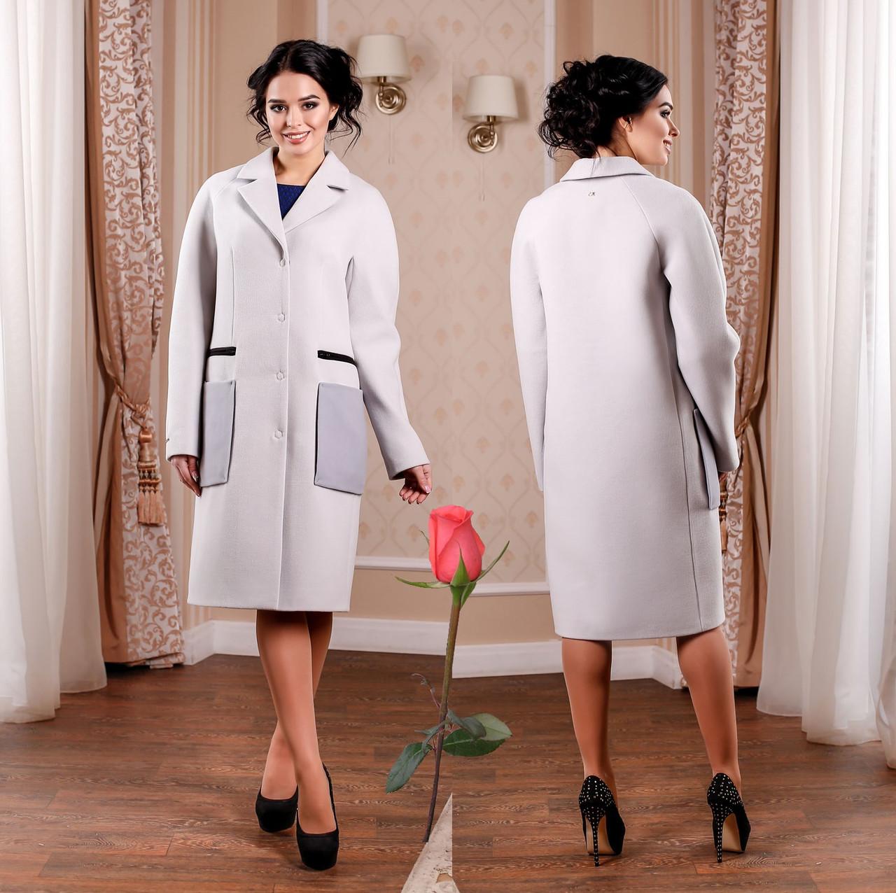 Демисезонное пальто с большими накладными карманами  F 77998  Серый