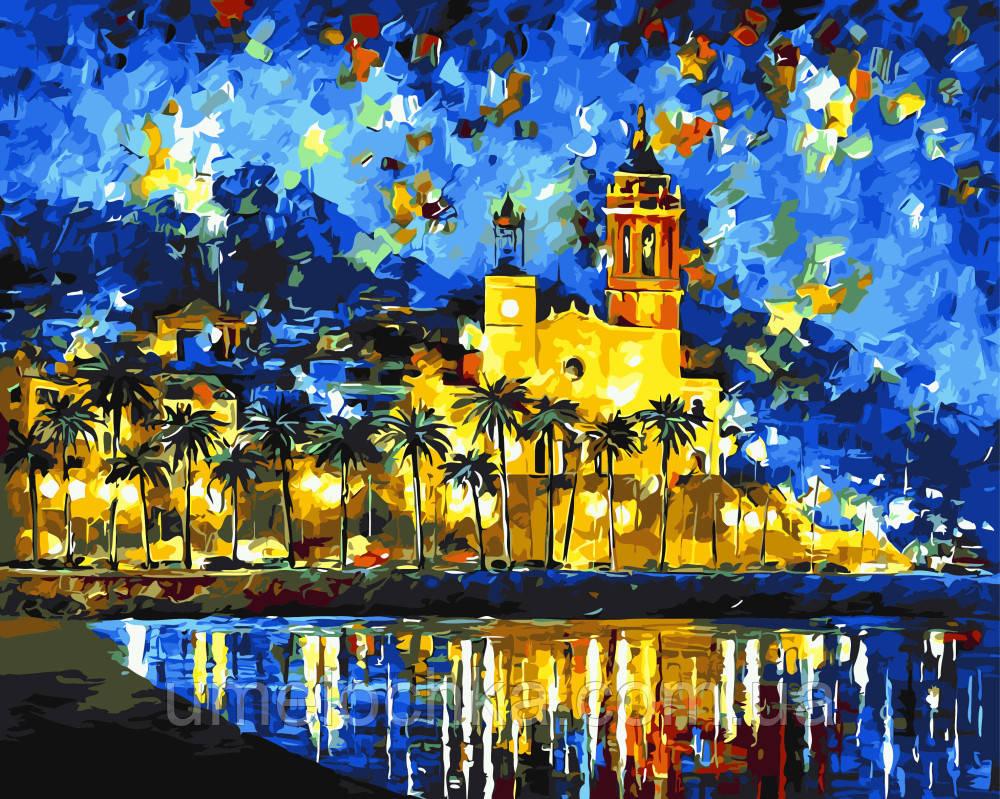 Картина по номерам на холсте без коробки Испания Ночной Ситжес Худ Афремов Леонид (BK-GX3018) 40 х 50 см