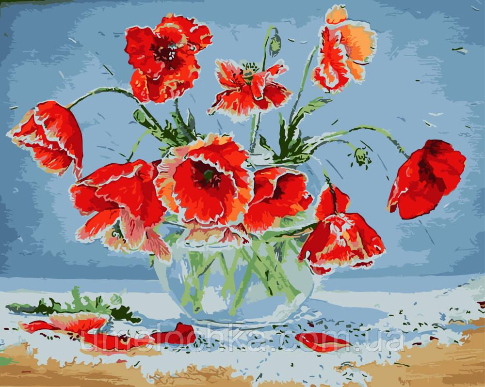 Картины раскраски на холсте цветы без коробки Маки под солнцем Худ Чуприна Ирина 40 х 50 см