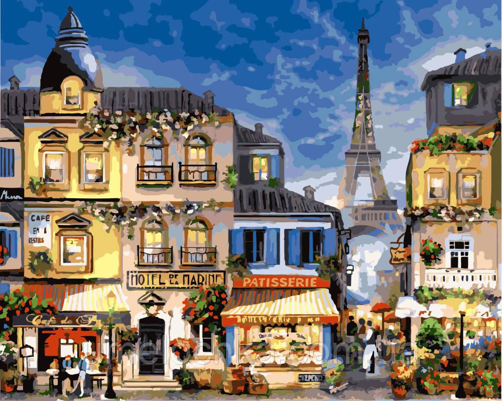 Раскраска по номерам Парижские кафе (BK-GX3241) 40 х 50 см