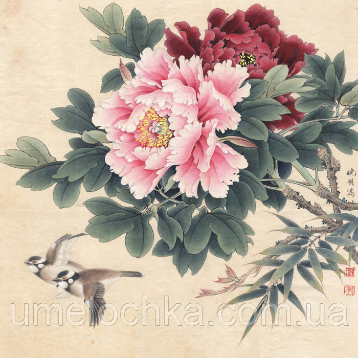 Картина по номерам на холсте без коробки Пионы в японском стиле (BK-GX3443) 40 х 50 см