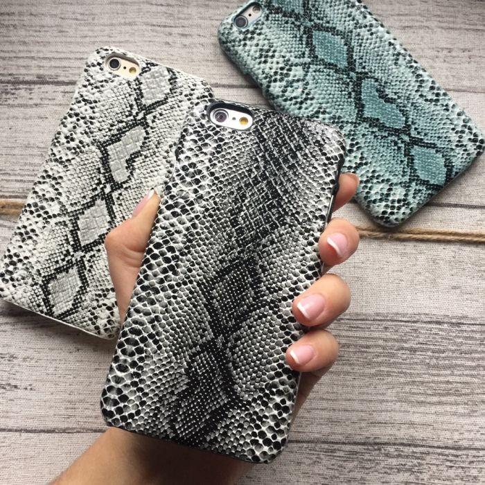 Чехол для iPhone 6/6s под змеиную кожу темно серый