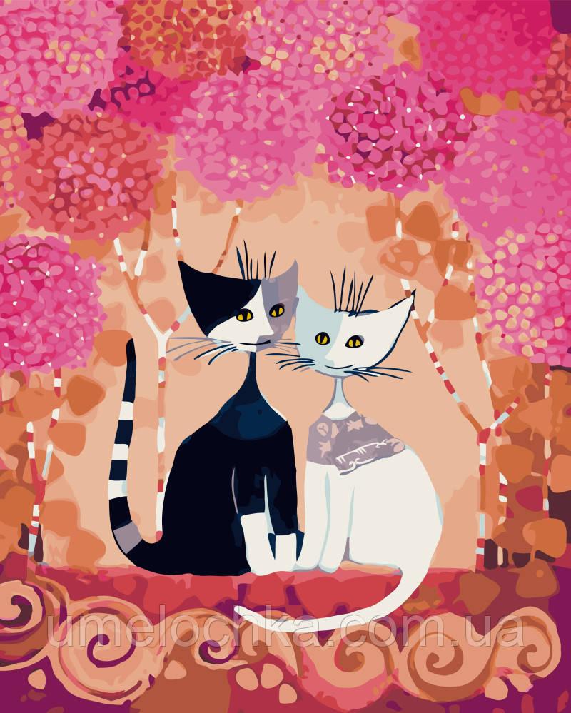 Картина по номерам Белая кошка, черный кот (BK-GX9897) 40 х 50 см