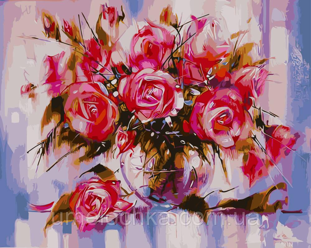 Картина раскраска по номерам без коробки Нежные розы ХудСыдорив Зиновий Николаевич (BK-GX9898) 40 х 50 см