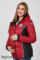 Теплая демисезонная куртка для беременных Lemma, ягодная с черным